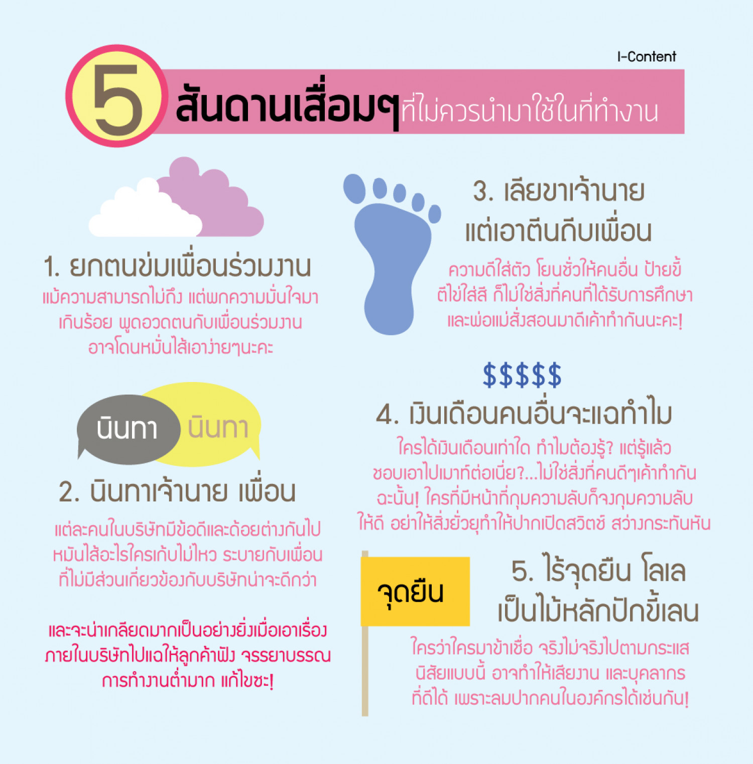 5 Bad habbits @ work [thai] Infographic