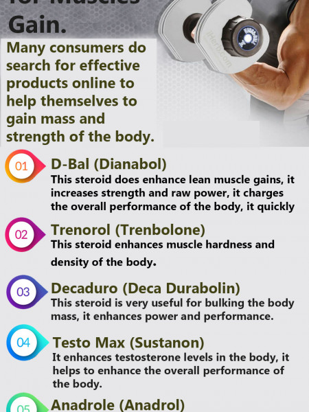 5 Best Supplements for Muscle Gain. Infographic