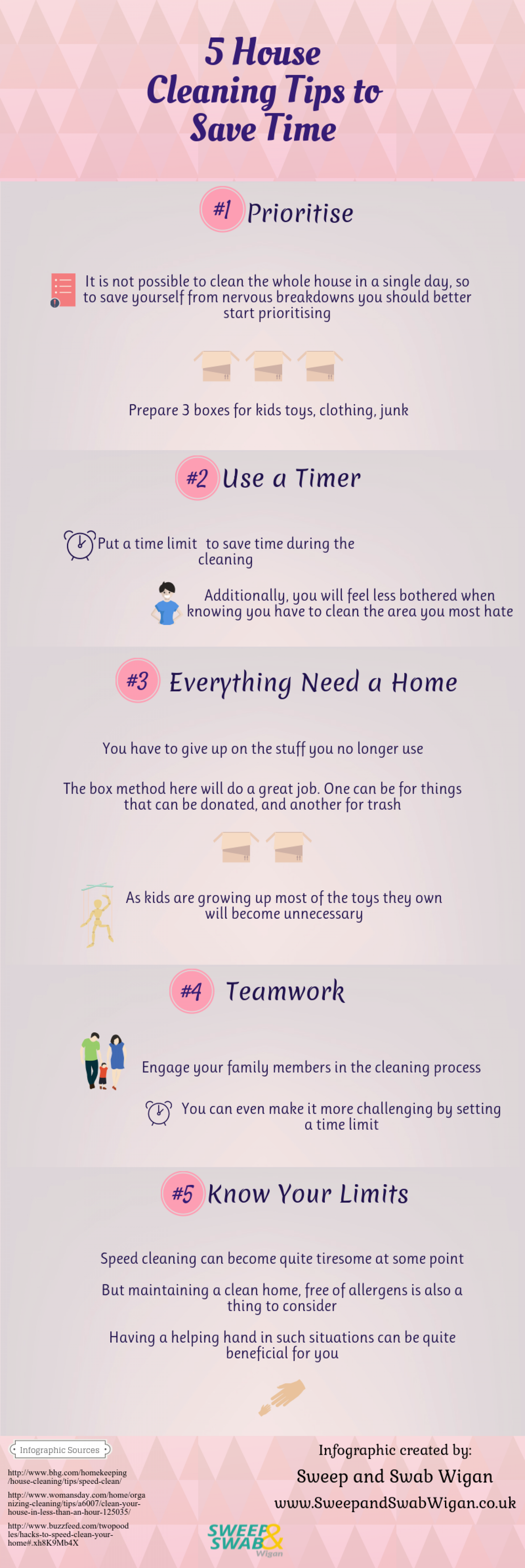 5 House Cleaning Tips to Save Time Infographic