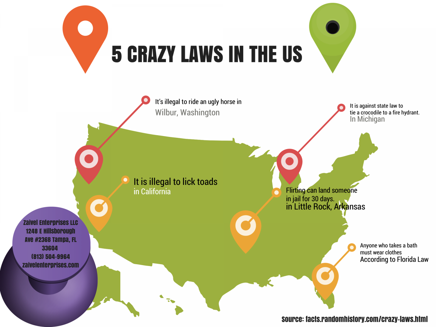 5 Crazy Laws in the US Infographic