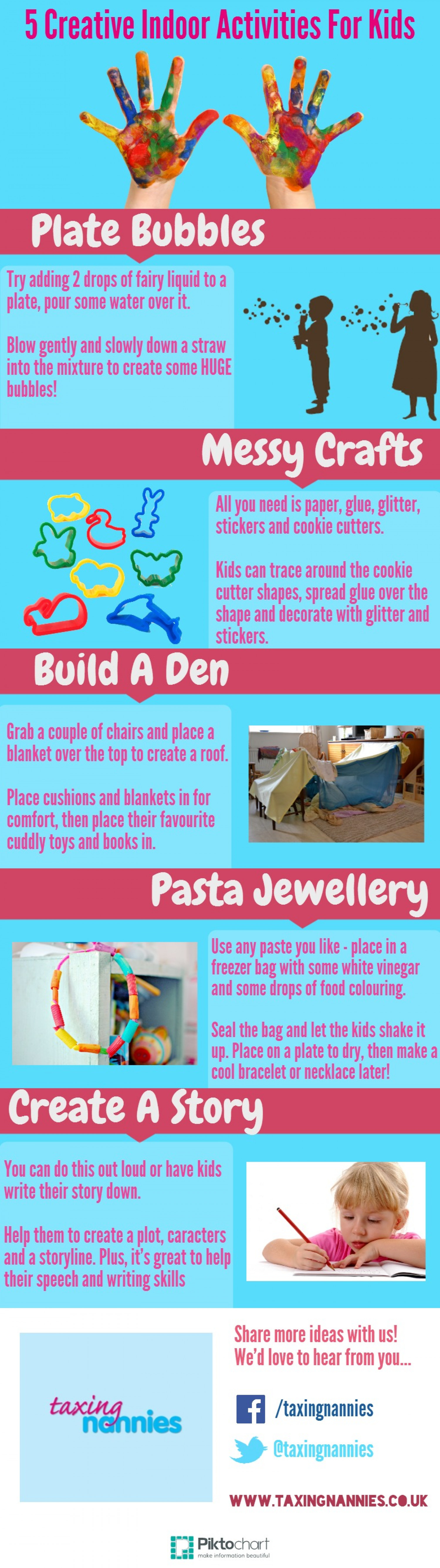 5 Creative Indoor Activities For Kids Infographic