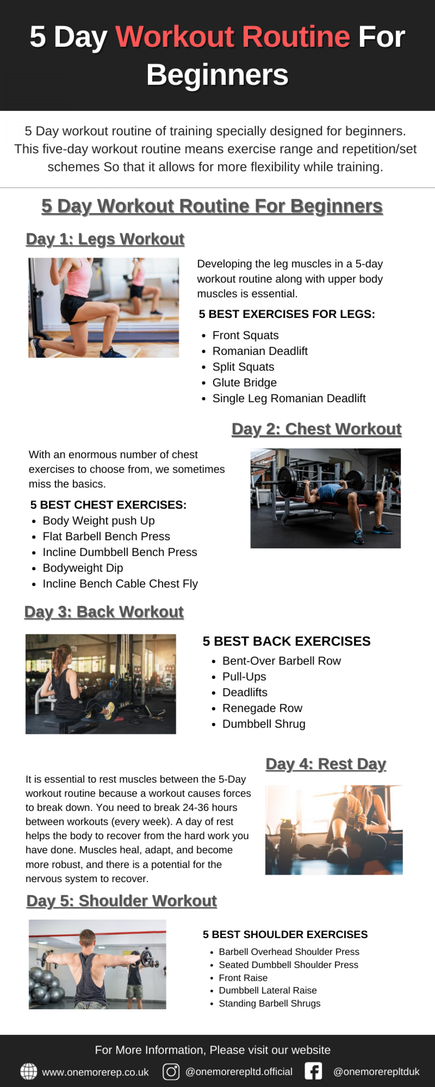 5 Day Workout Routine For Beginners Infographic