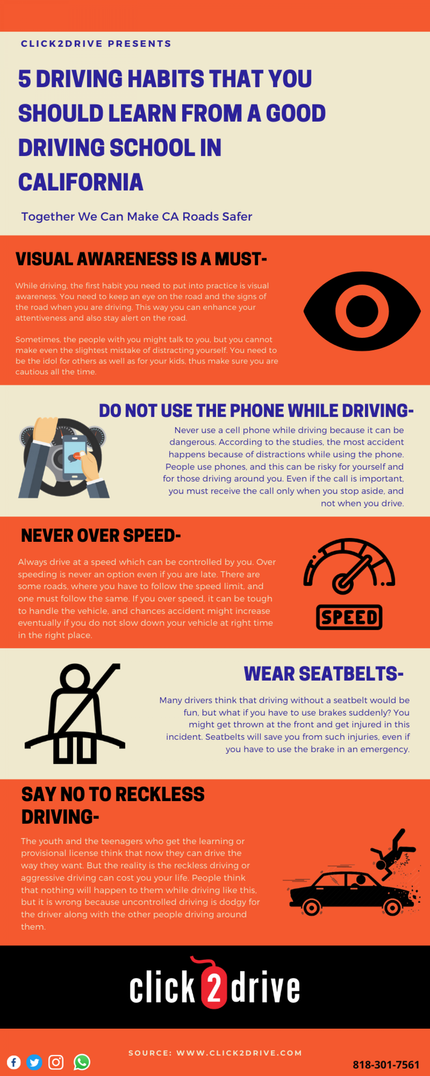5 driving habits that you should learn from a good driving school in California Infographic