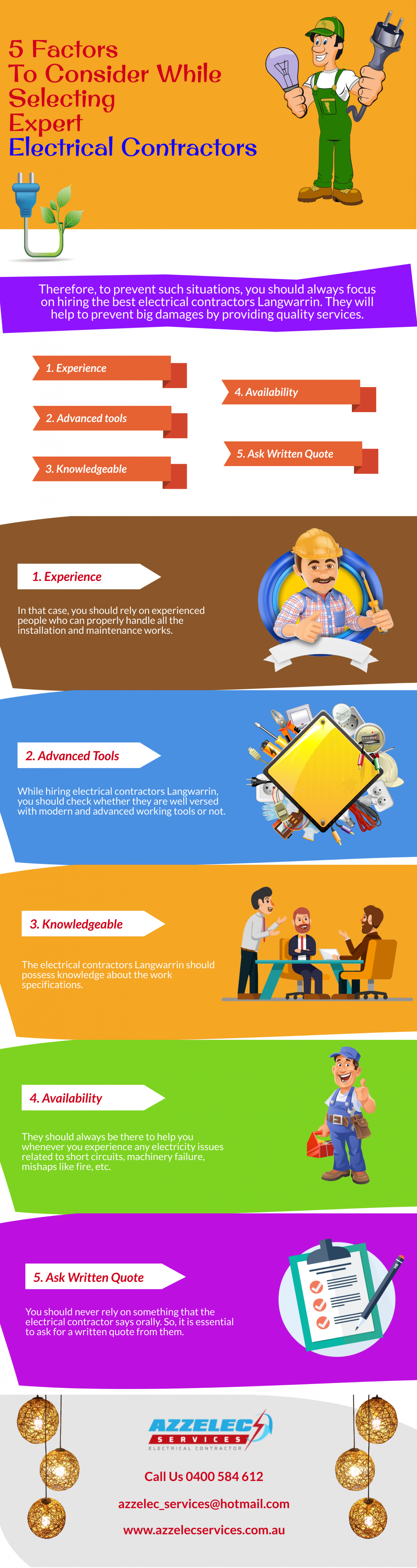 5 Factors To Consider While Selecting Expert Electrical Contractors Infographic