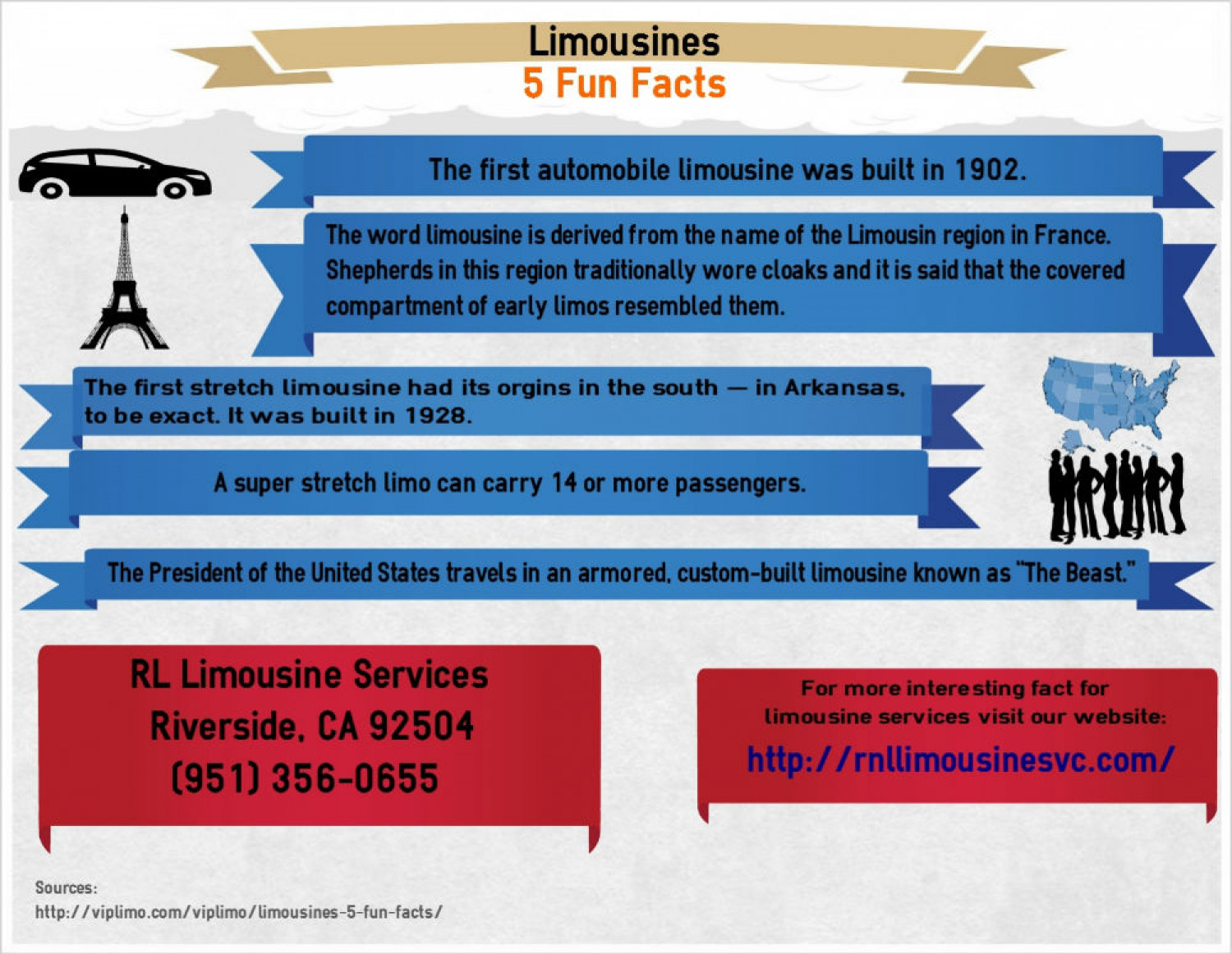 Limousines 5 Fun Facts Infographic