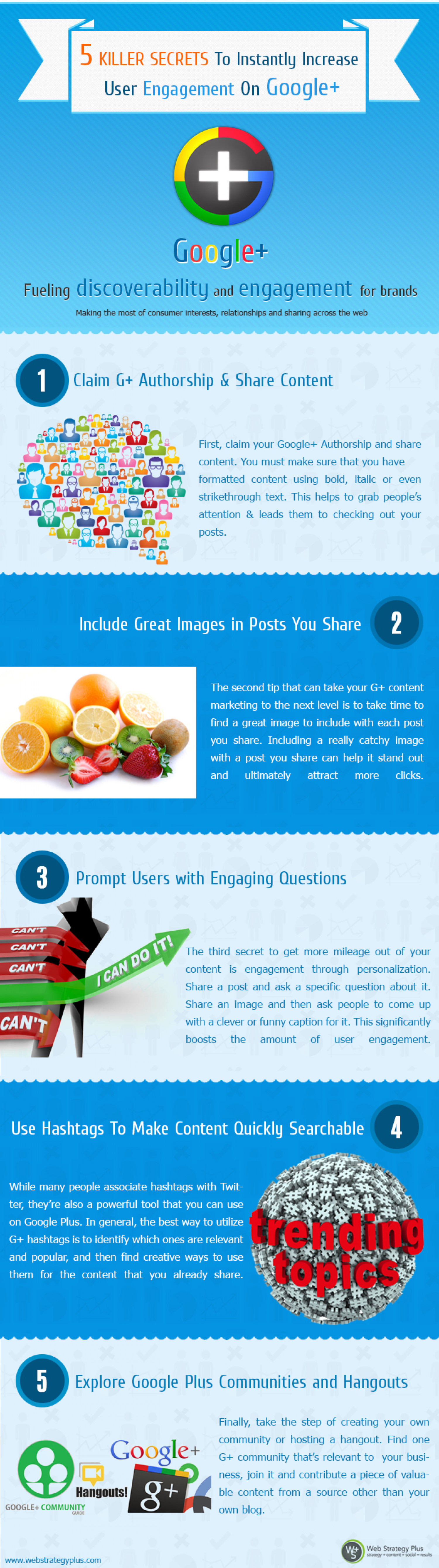 5 Killer Secrets To Instantly Increase User Engagement On Google+ Infographic