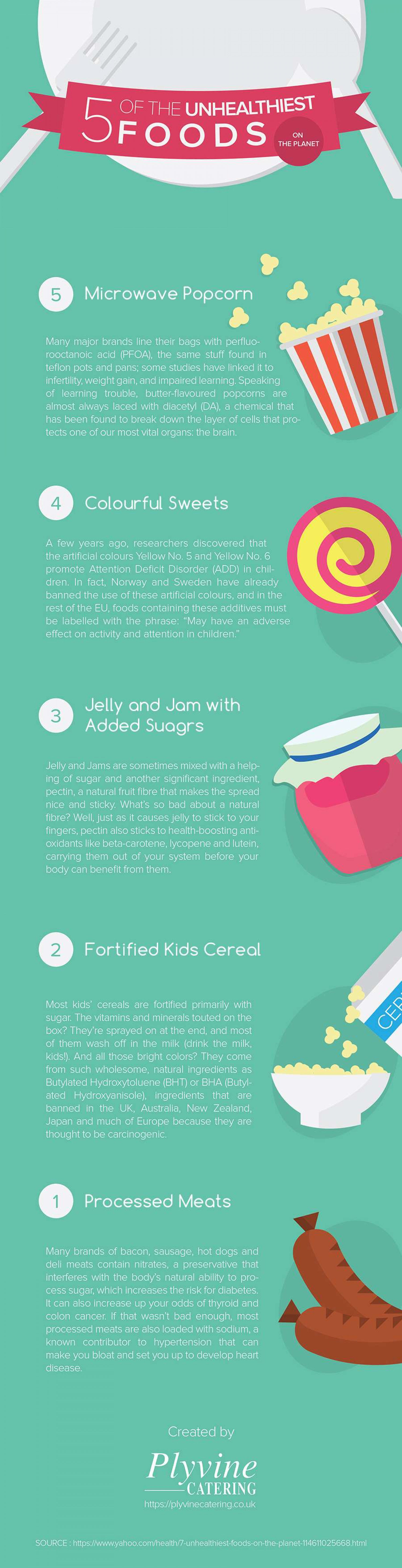 5 of the Unhealthiest Foods on the Planet Infographic