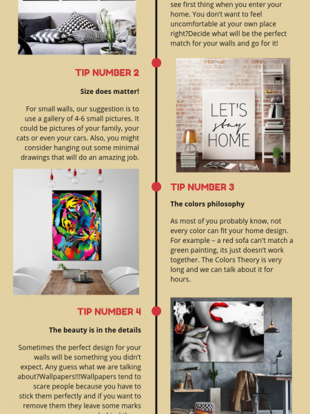 5 Quick Tips How To Design Your Walls - Wall Designs for Living Room Infographic