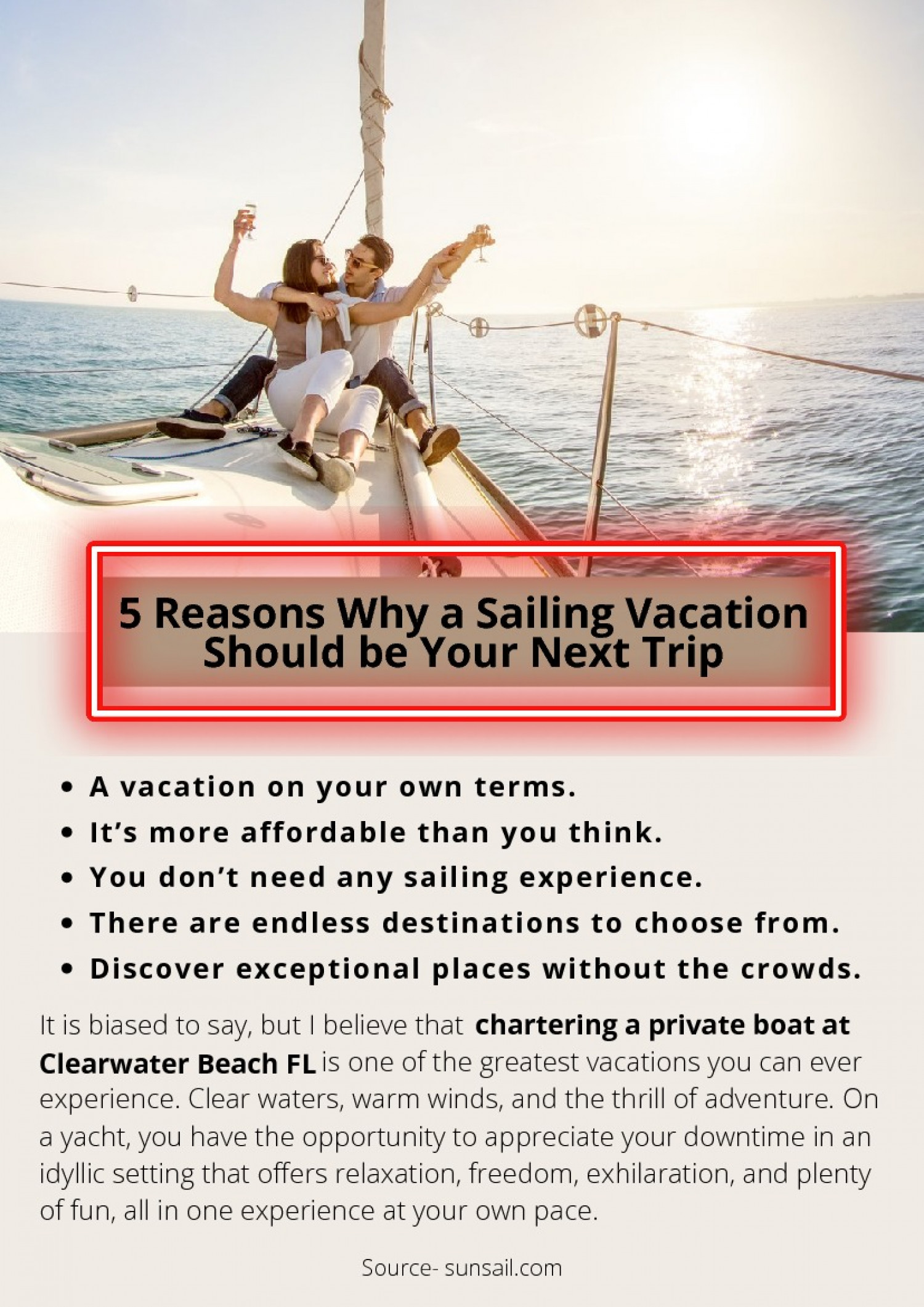 5 Reasons Why a Sailing Vacation Should be Your Next Trip Infographic