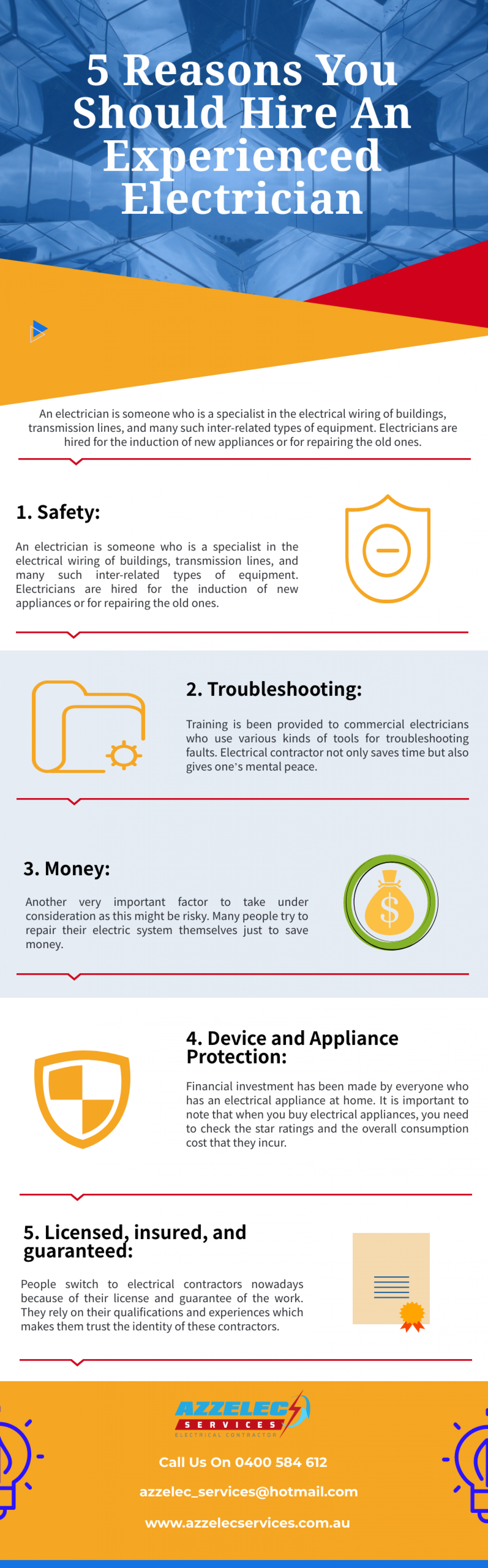 5 Reasons You Should Hire An Experienced Electrician Infographic