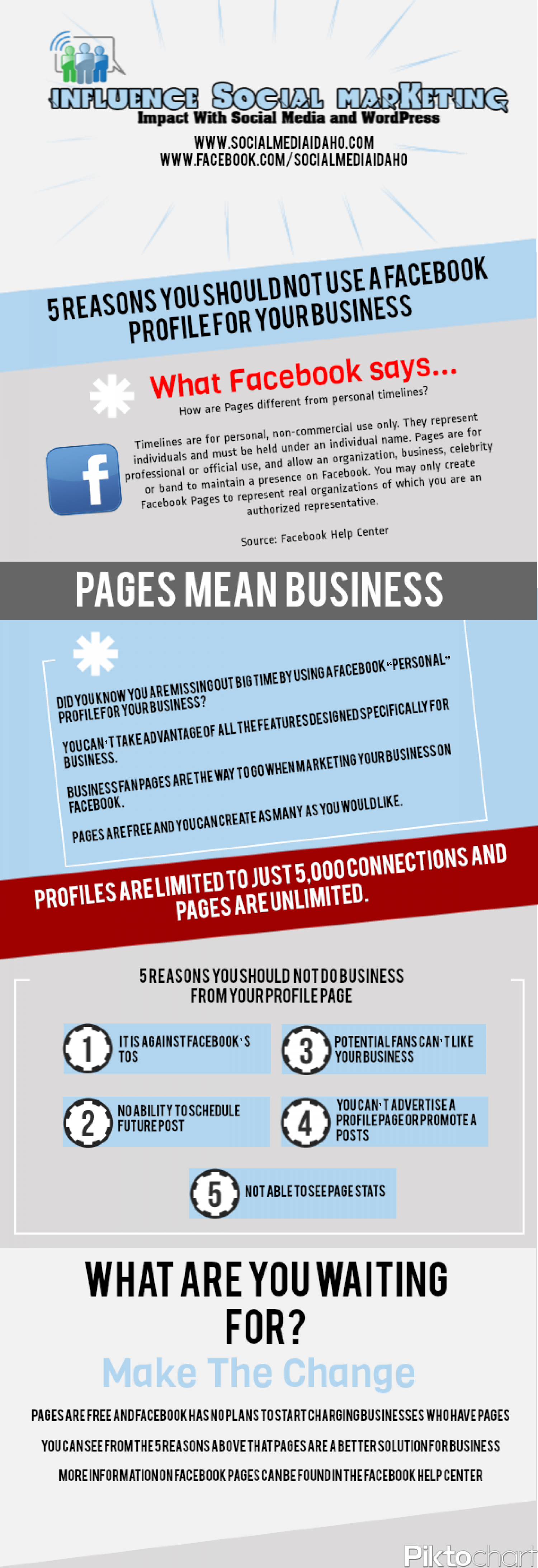 5 Reasons You Should Not Use A Facebook Profile For Your Business Infographic