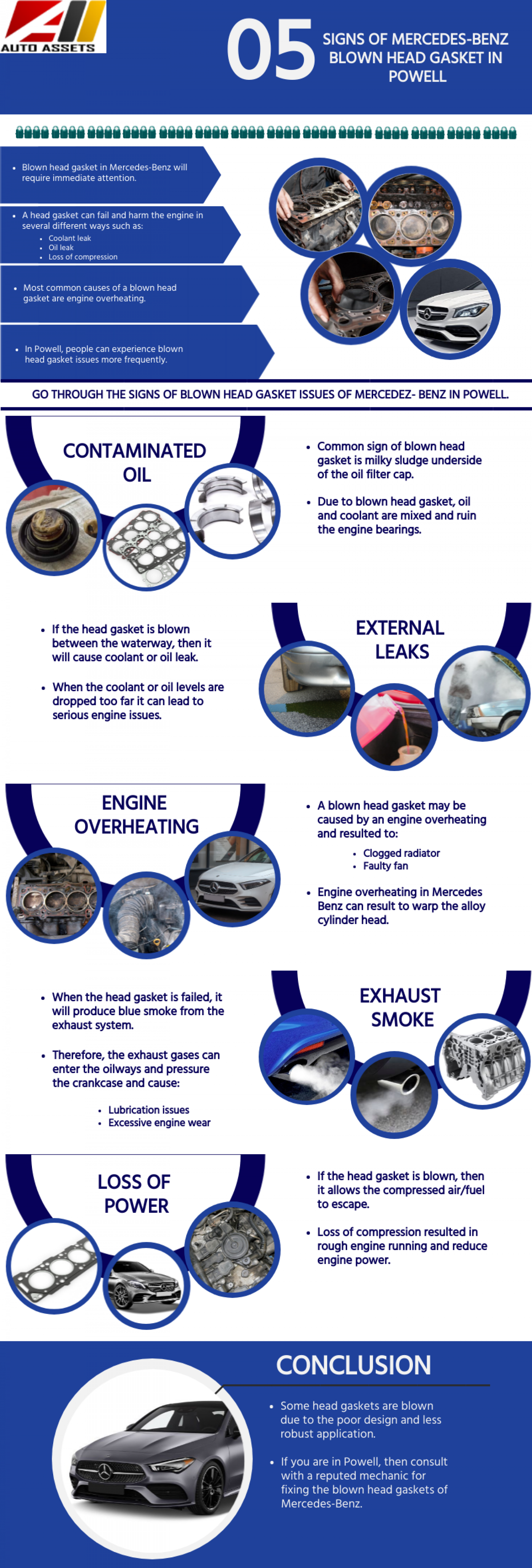 5 Signs of Mercedes-Benz Blown Head Gasket in Powell Infographic