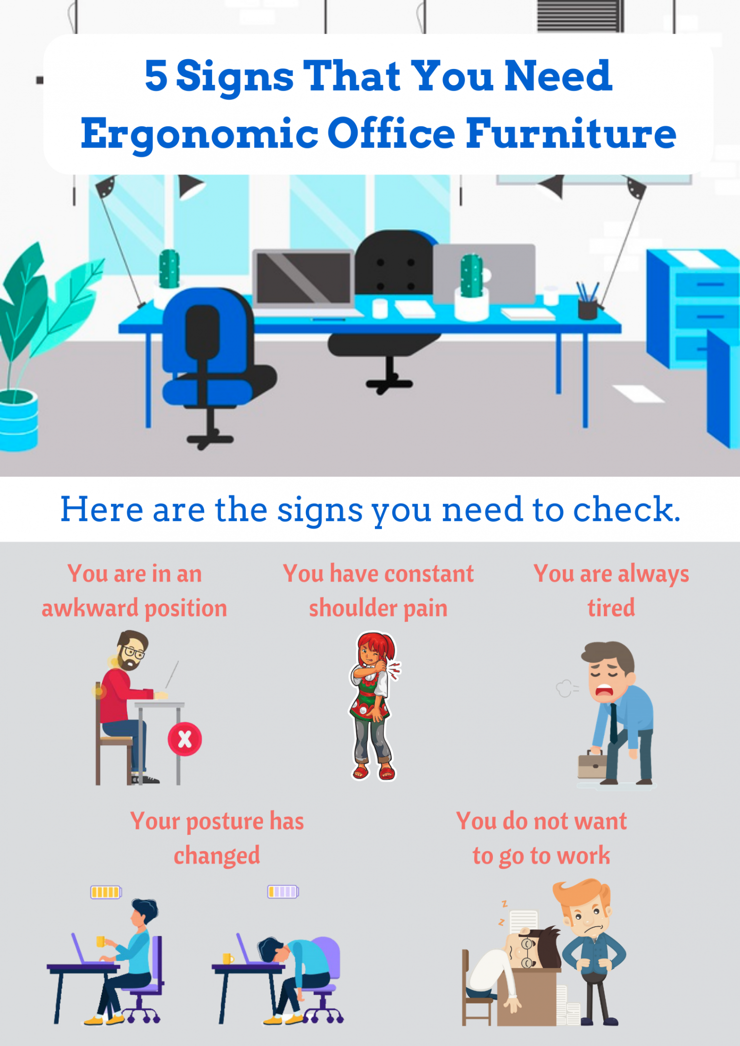 5 Signs That You Need Ergonomic Office Furniture Infographic