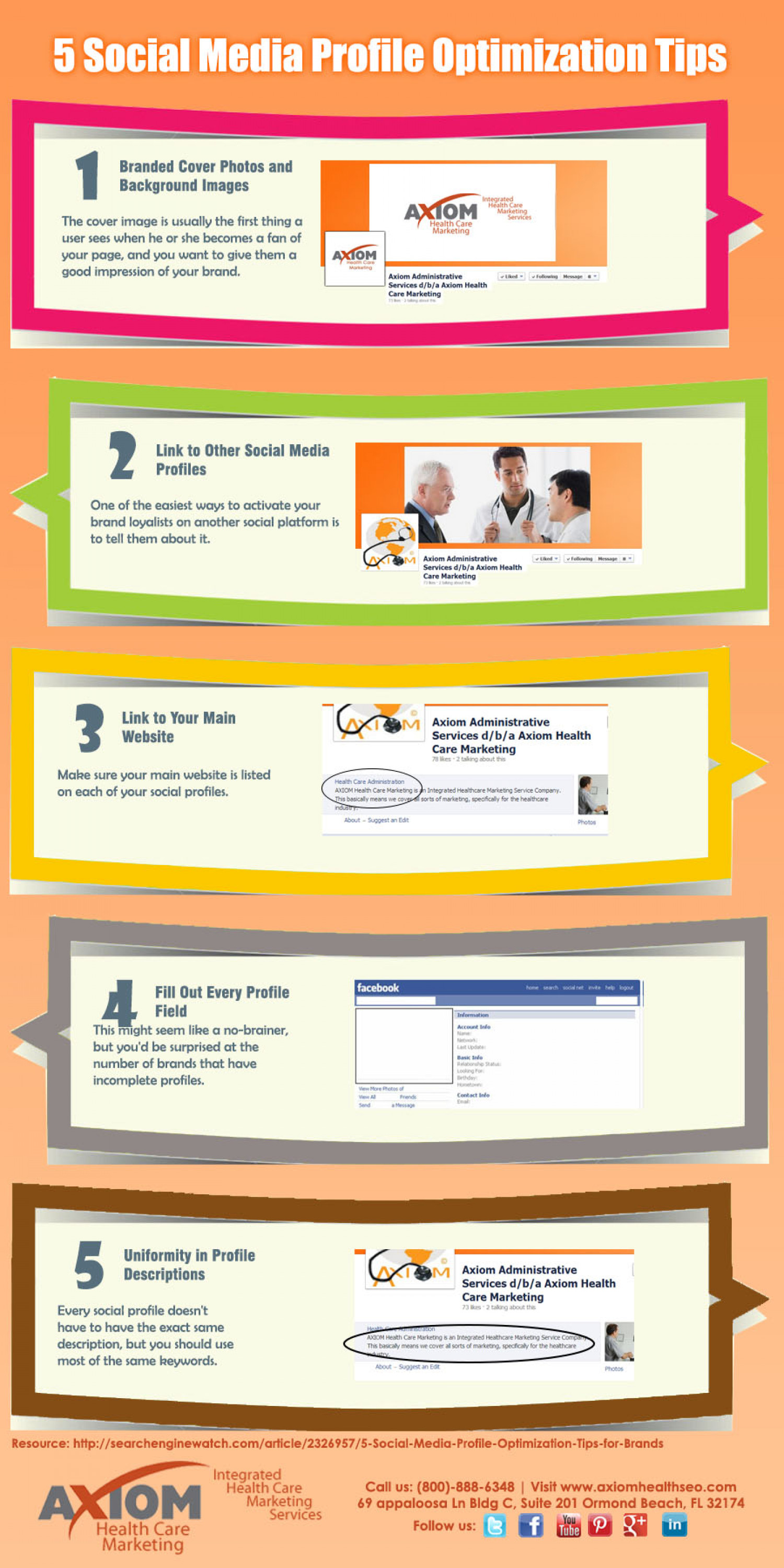 5 Social Media Profile Optimization Tips Infographic