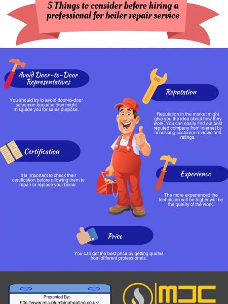 5 Things to consider before hiring a professional for boiler repair service Infographic