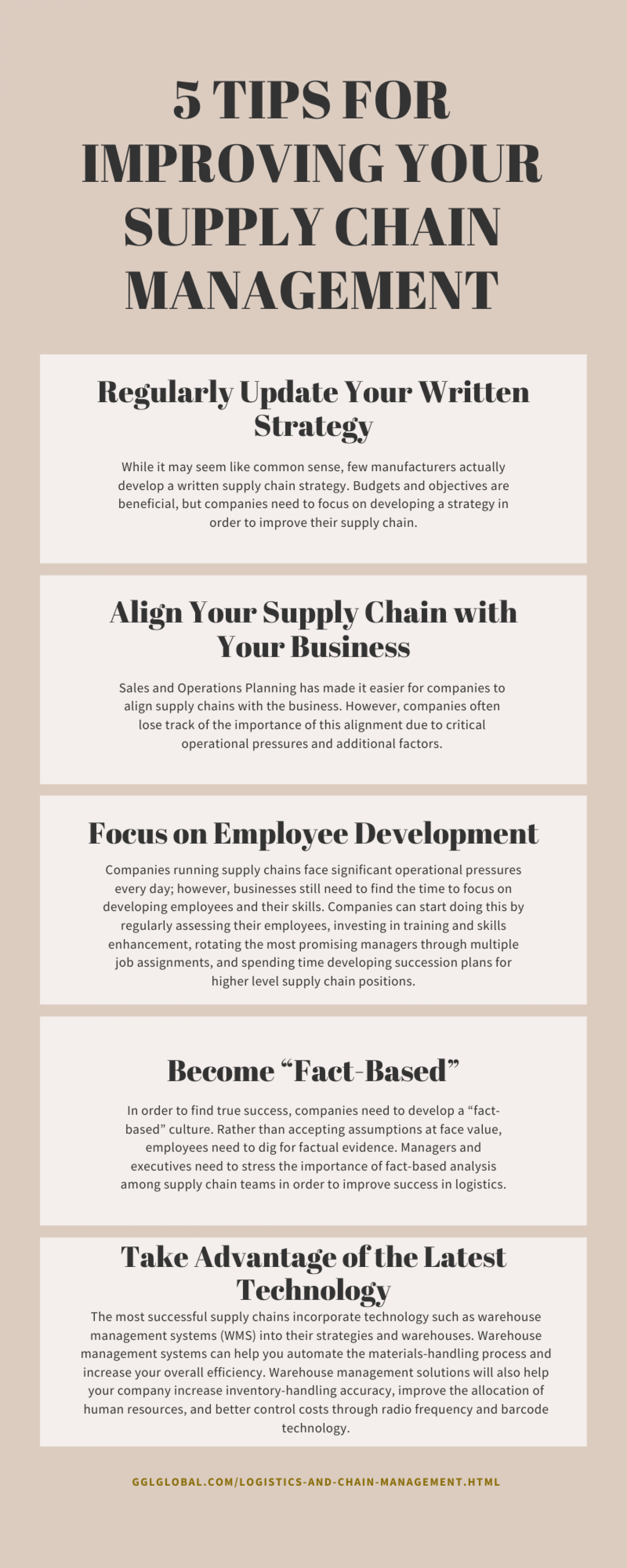 5 TIPS FOR IMPROVING YOUR SUPPLY CHAIN MANAGEMENT. Infographic