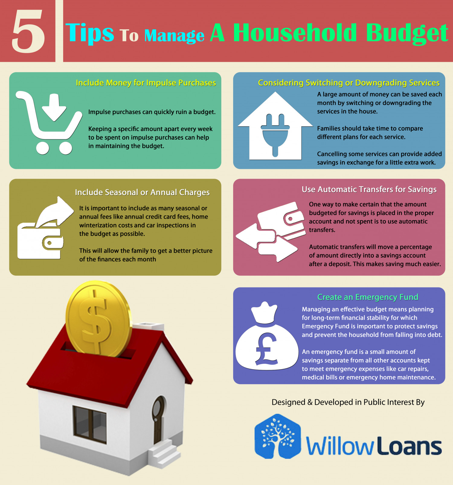 5 Tips To Manage A Household Budget Infographic