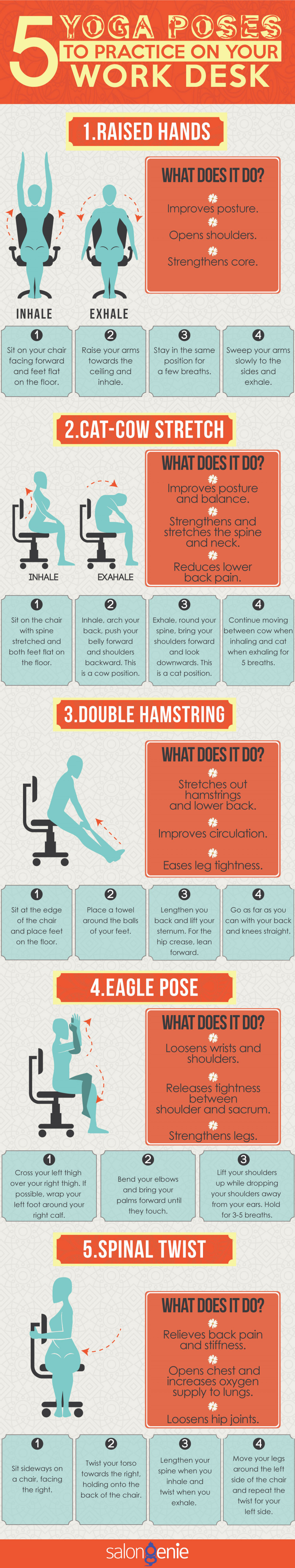 5 Yoga Poses to Practice on Your Desk Infographic