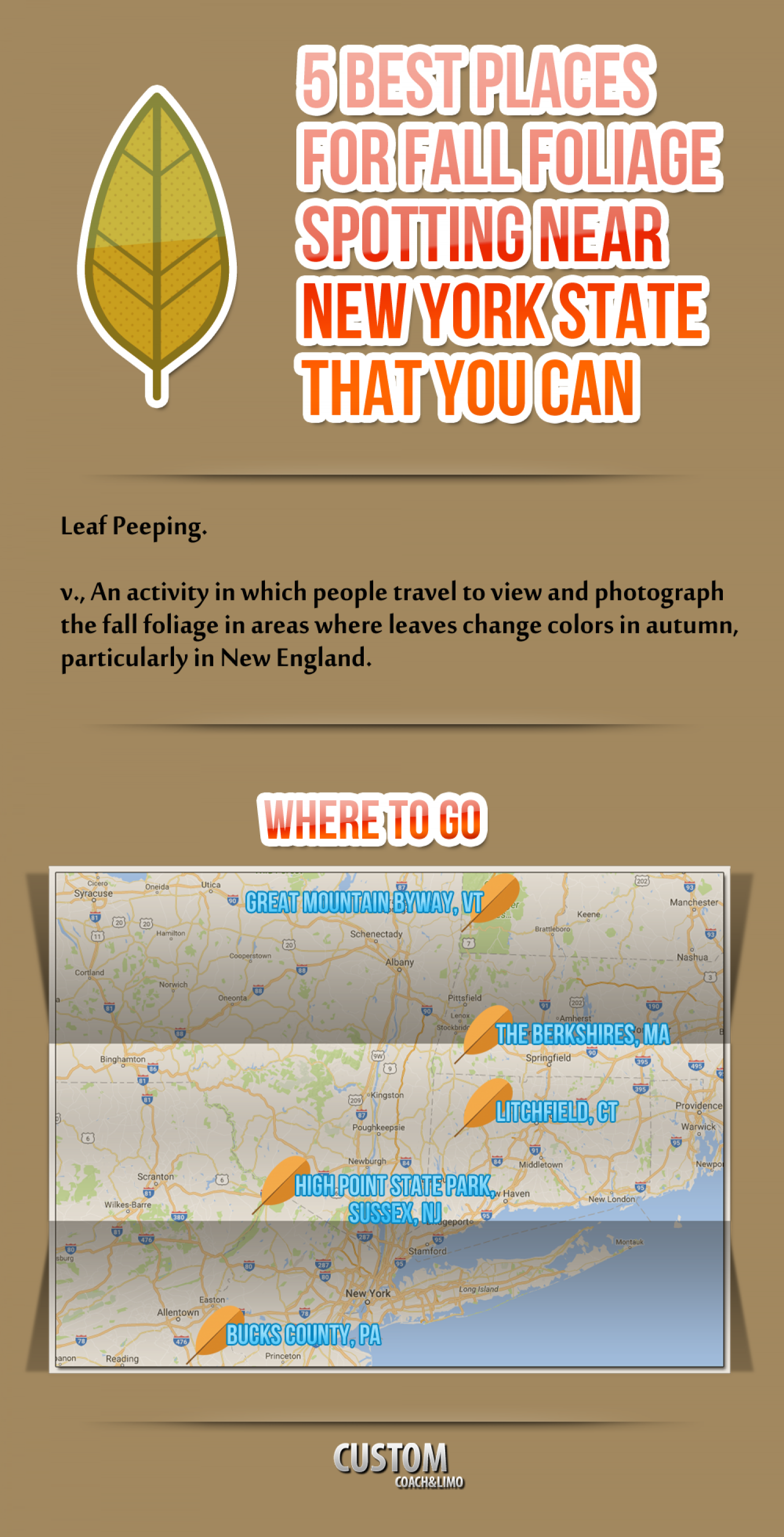 5 Best Places for Fall Foliage Spotting Near New York State That You Can Visit with a Minibus in NYC Infographic