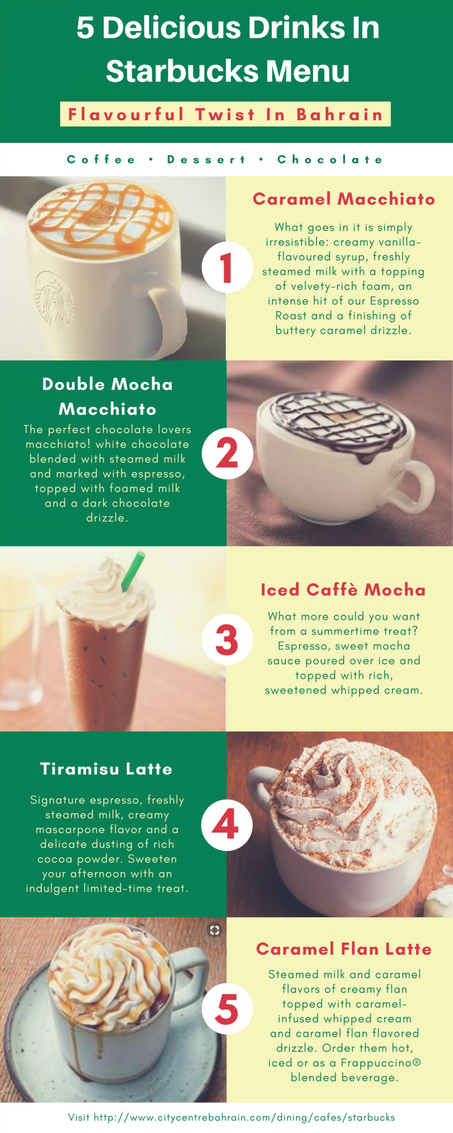 5 Delicious Drinks to Try in Starbucks - Bahrain Infographic
