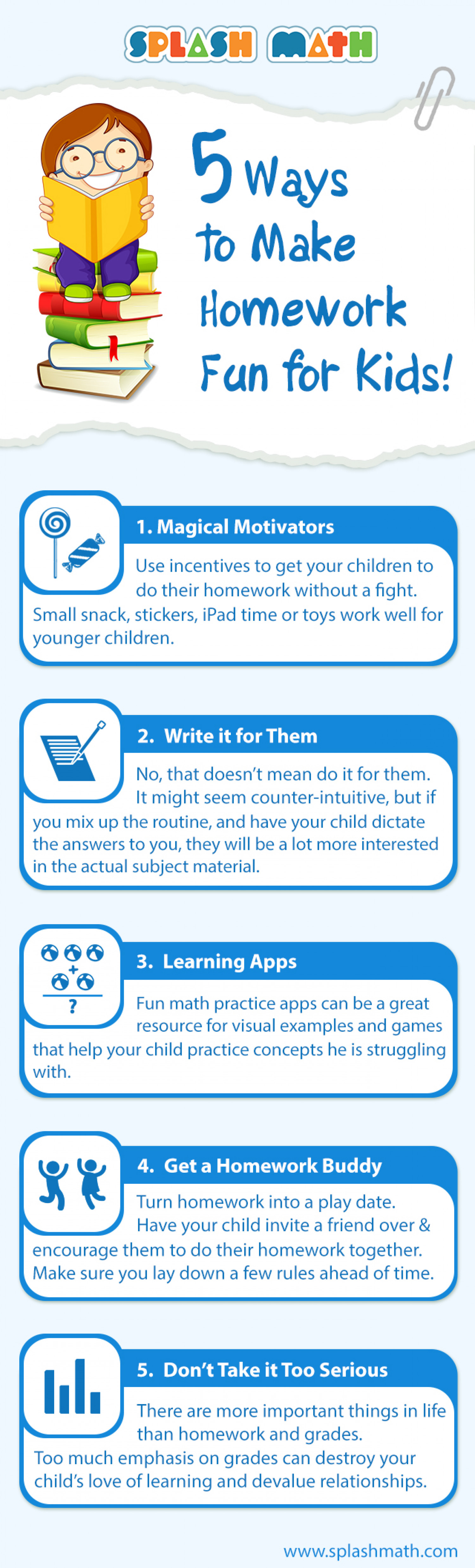 5 Ways to Make Homework Fun for Kids Infographic