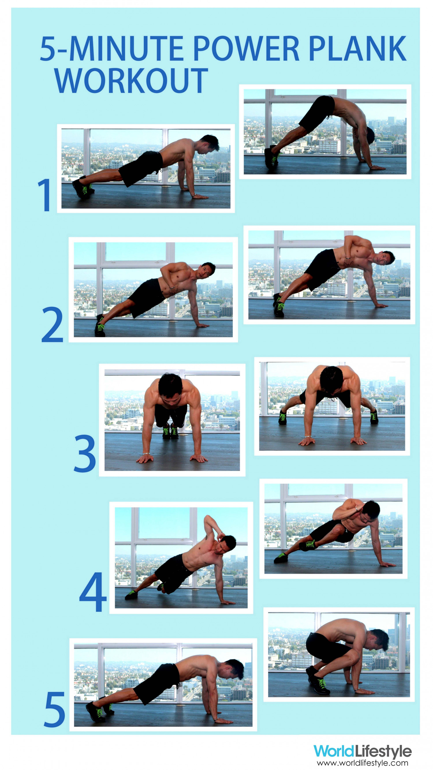 5-Minute Power Plank Workout Infographic