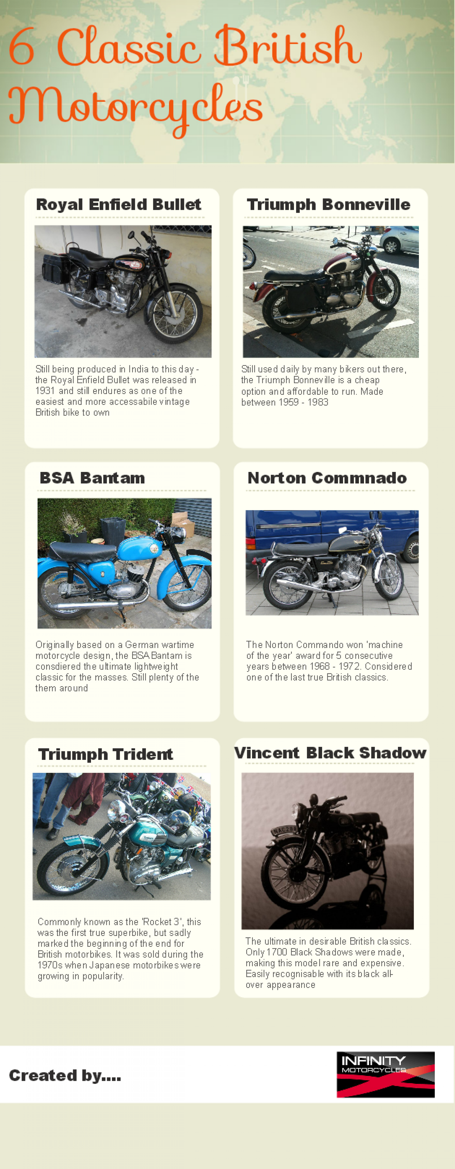 6 Classic British Motorcycles Infographic