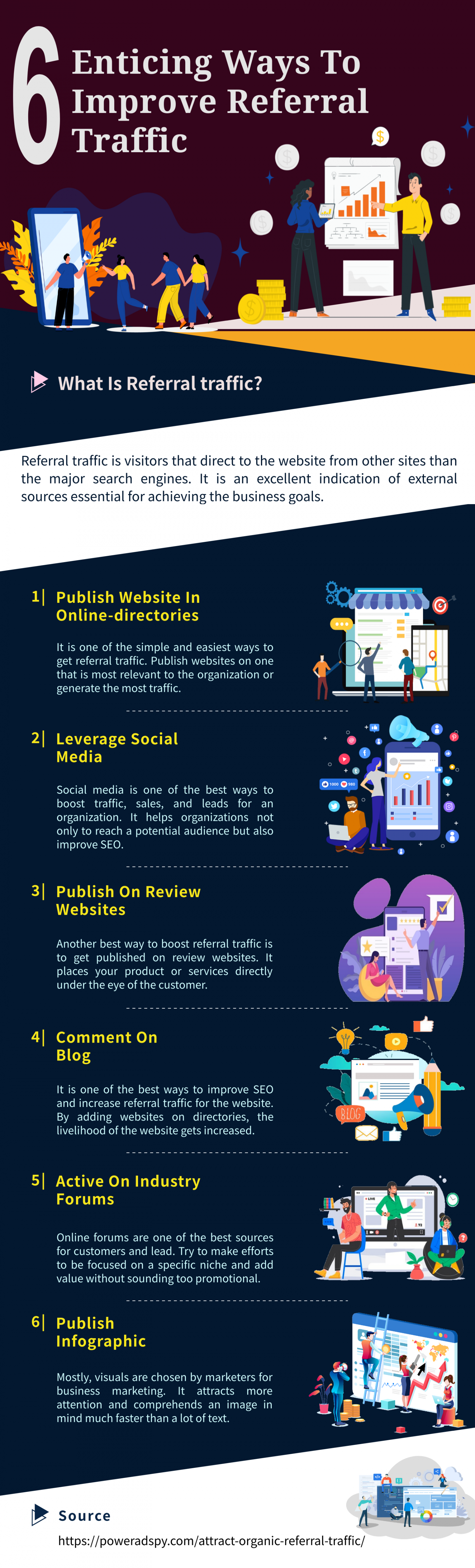 6 Enticing Ways To Improve Referral Traffic  Infographic