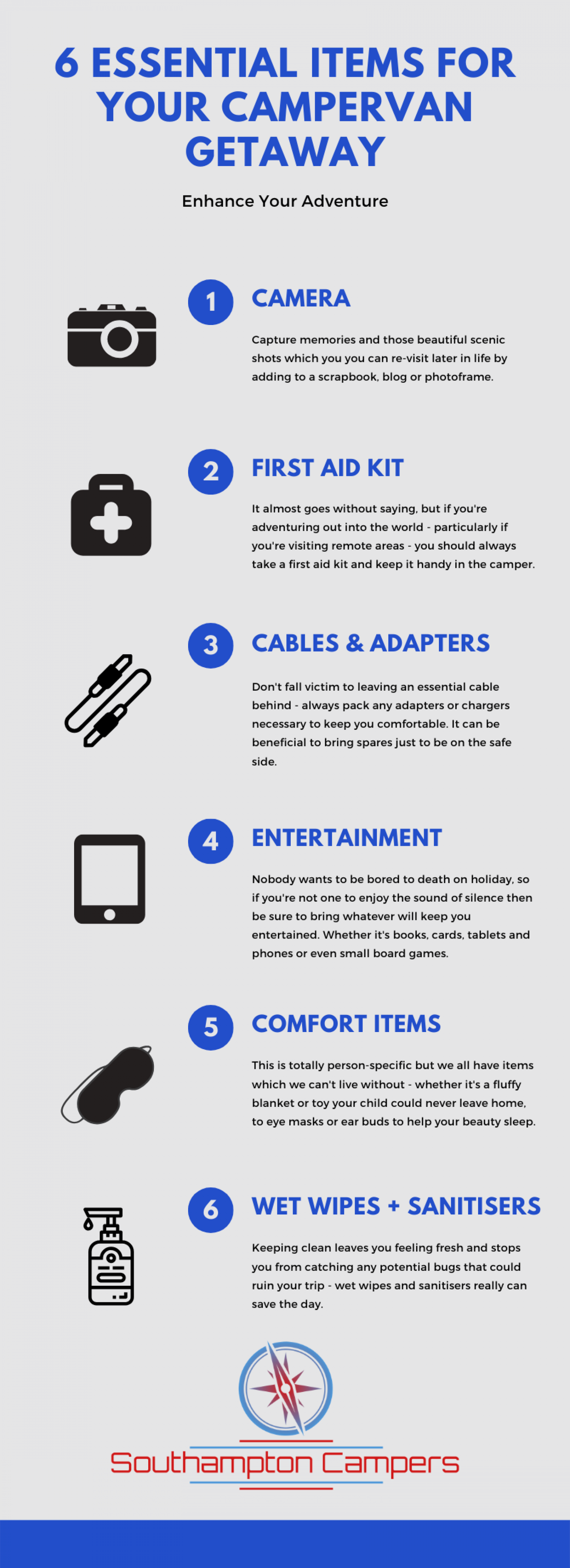 6 Essential Items for your Camper van Adventure! Infographic