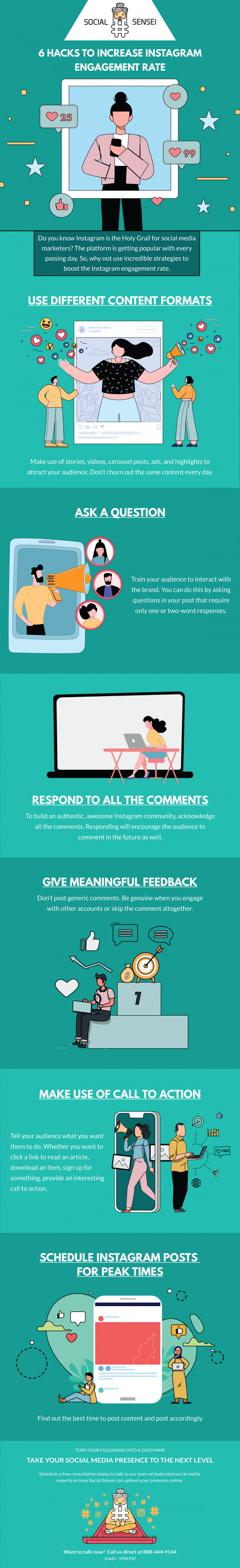 6 Hacks to Increase Instagram Engagement Rate Infographic