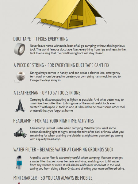 6 Invaluable tools to take camping Infographic