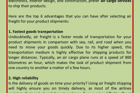 6 Reasons Why You Should Opt For Air Freight Services Infographic