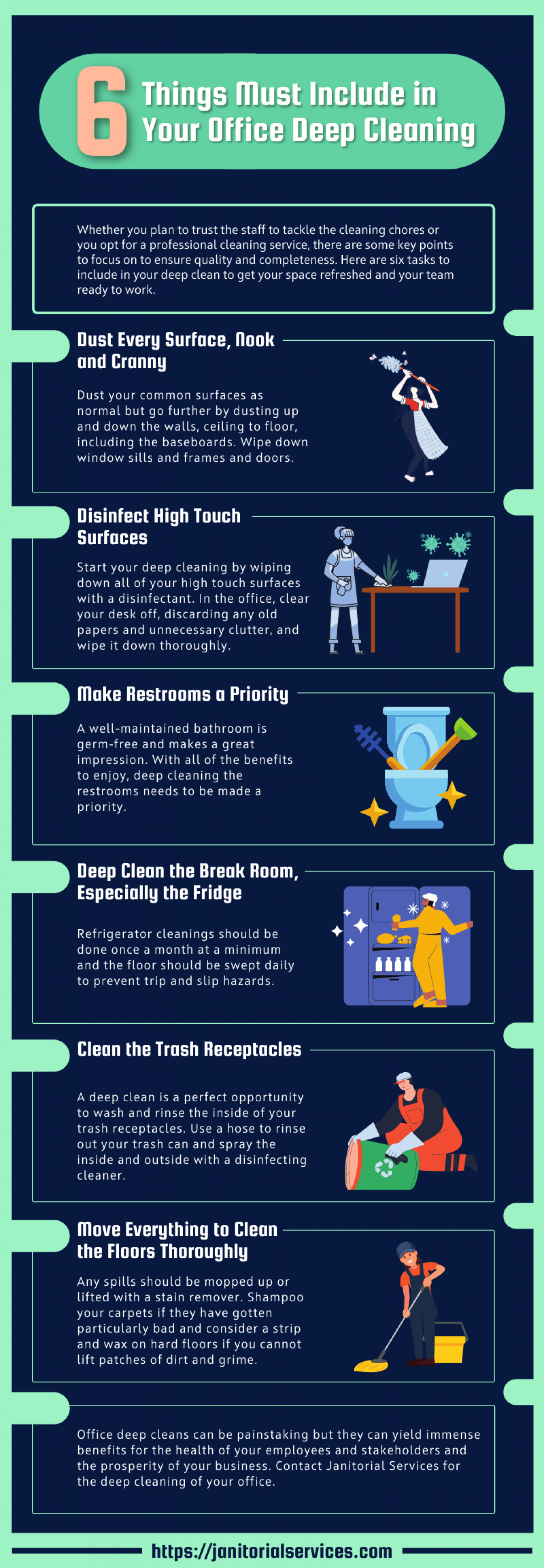 6 Things Must Include in Your Office Deep Cleaning Infographic