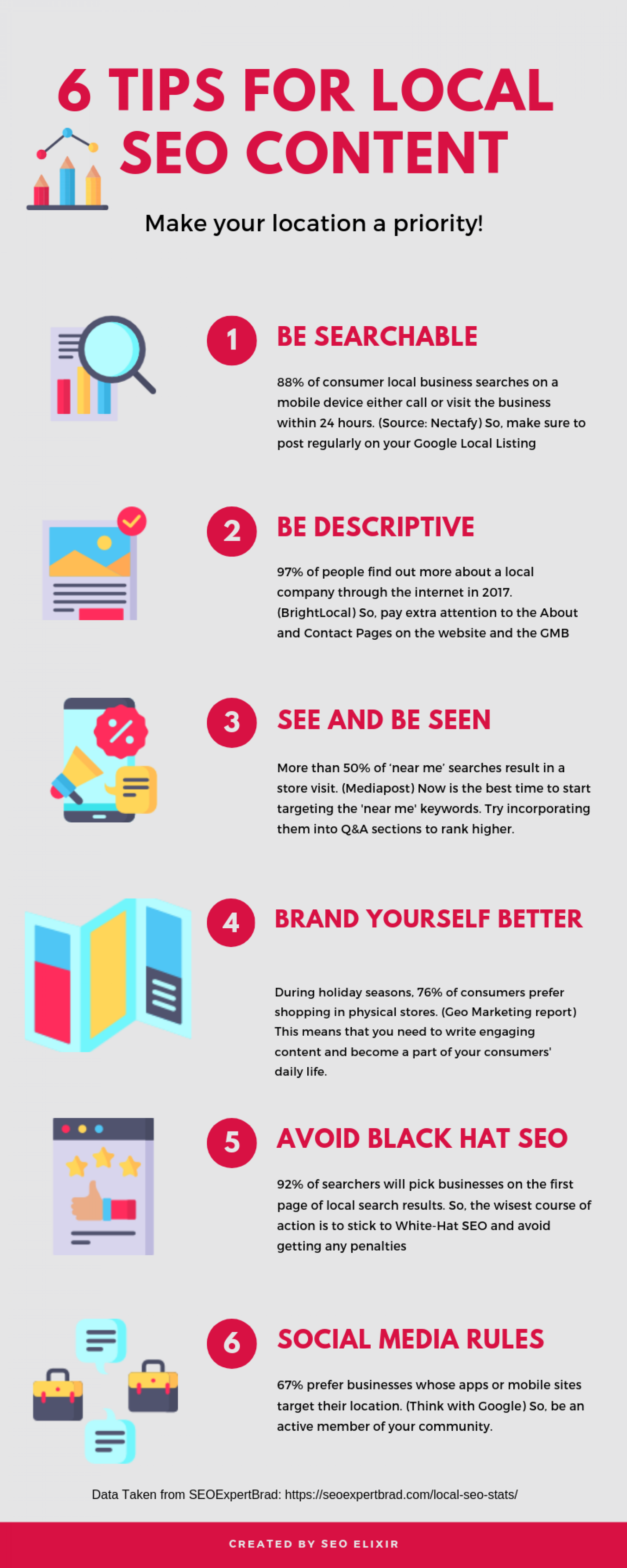 6 Tips for Local SEO Content Infographic
