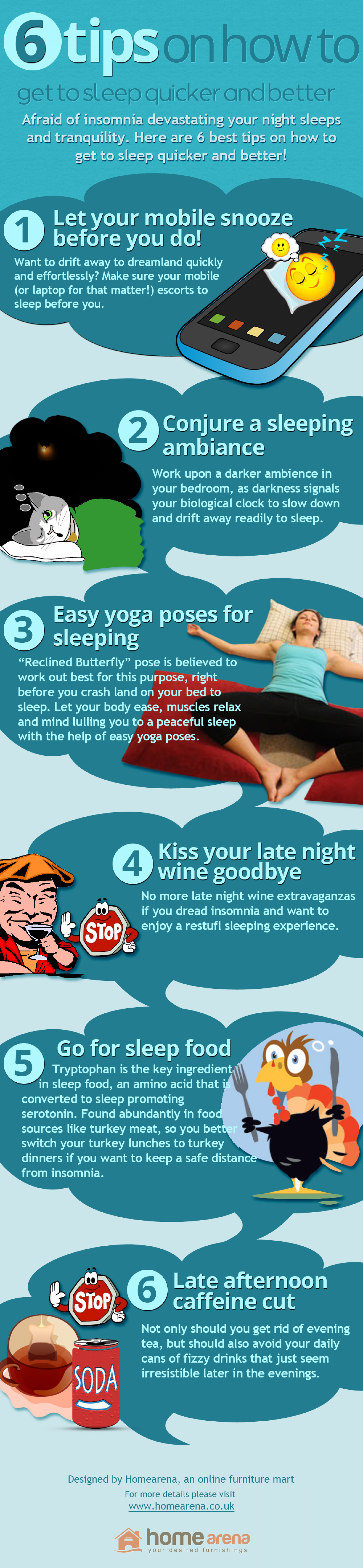 6 Tips on How to Get to Sleep Quicker and Better Infographic