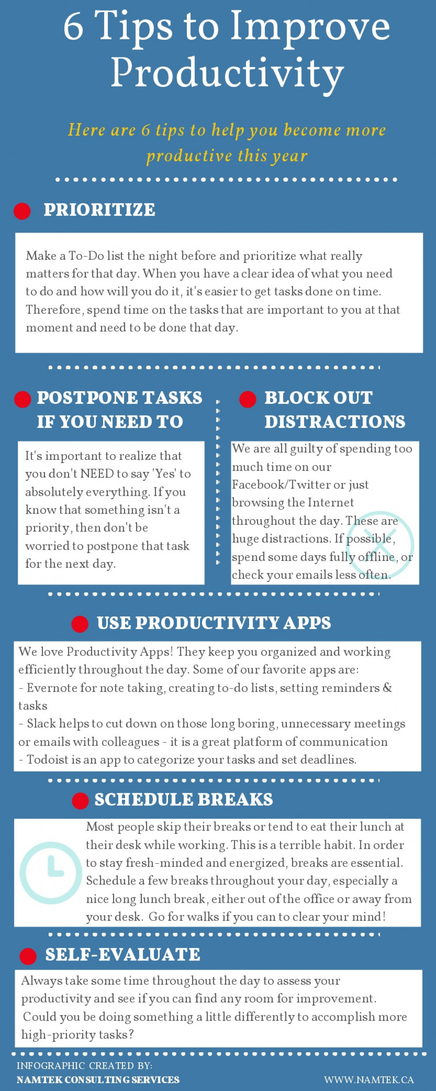 6 Tips To Improve Productivity At The Office | Visual.ly