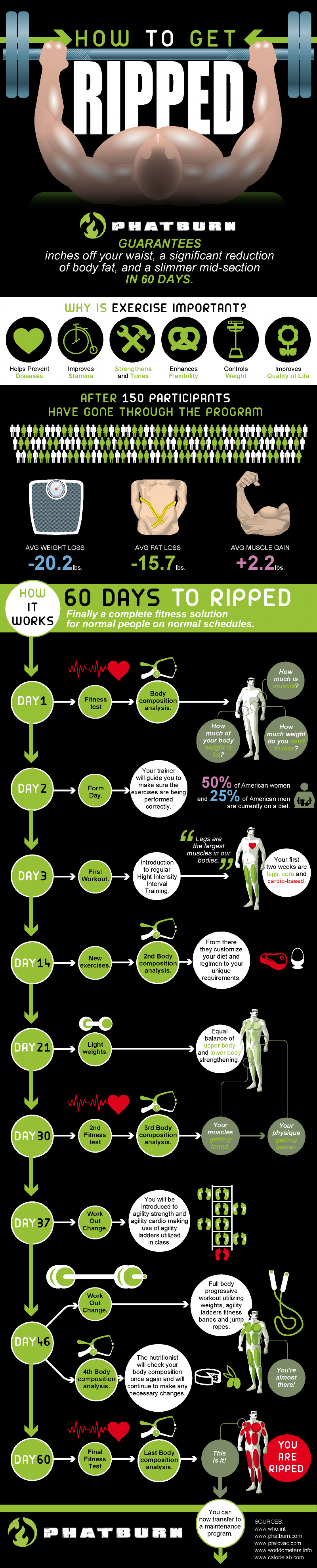60 days to ripped, here's how we do it  Infographic