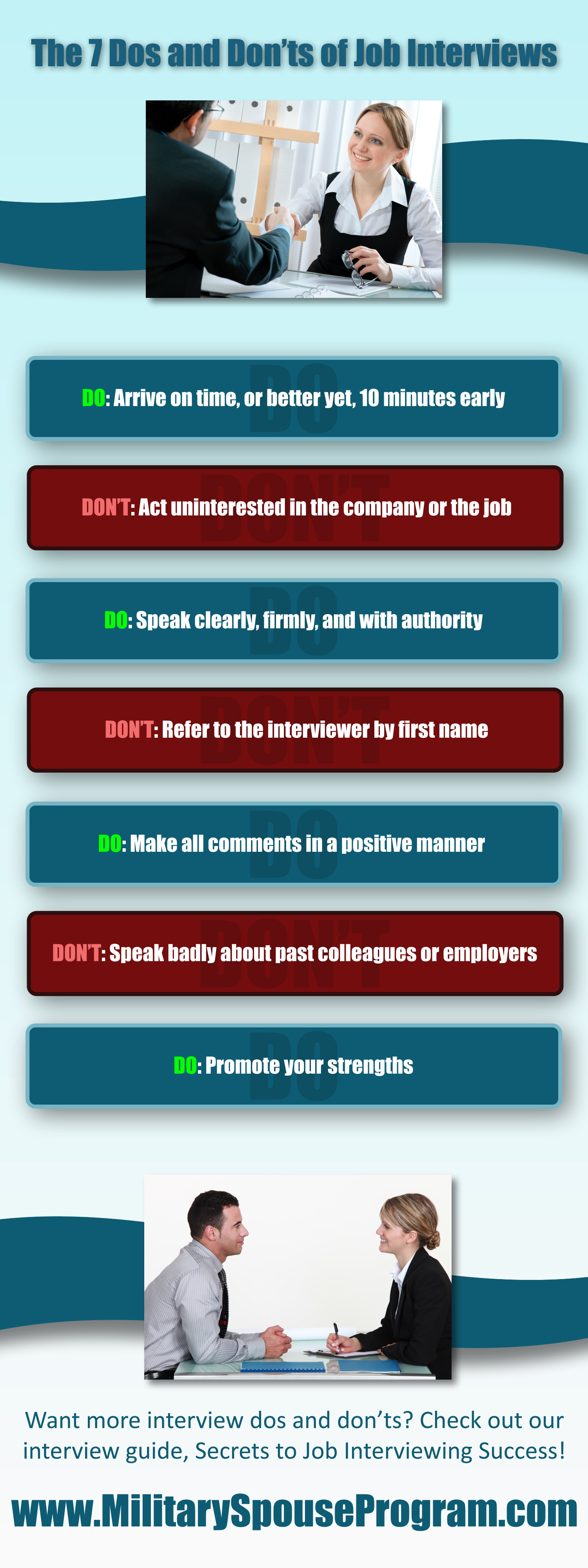 7 dos and don ts of job interviews visual ly 7 dos and don ts of job interviews infographic