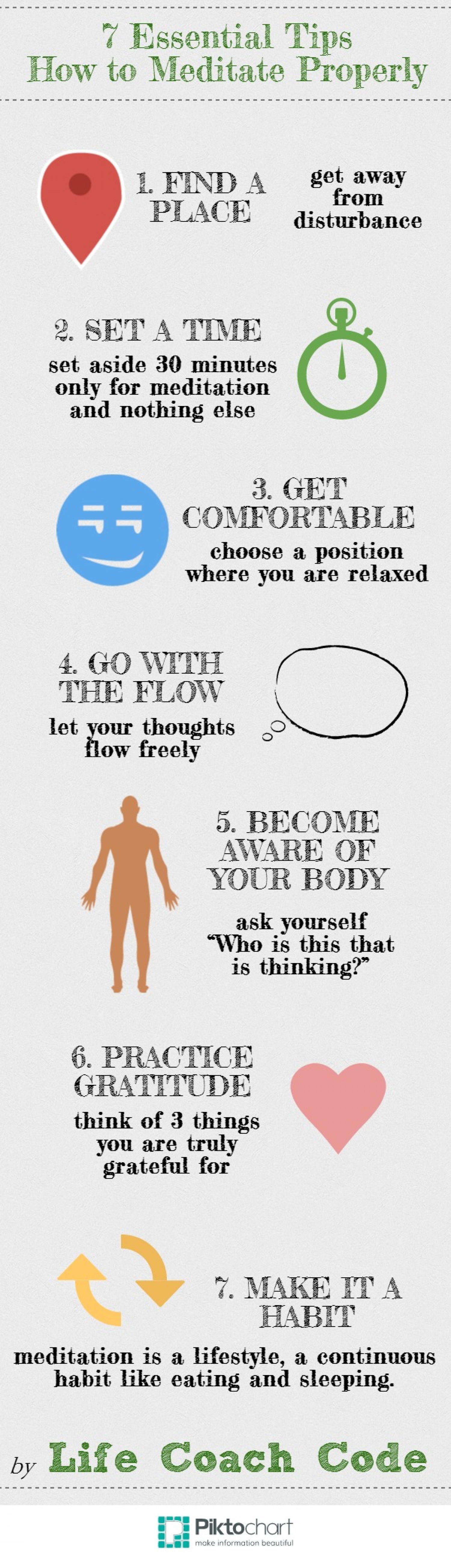 7 Essential Tips How to Meditate Properly Infographic
