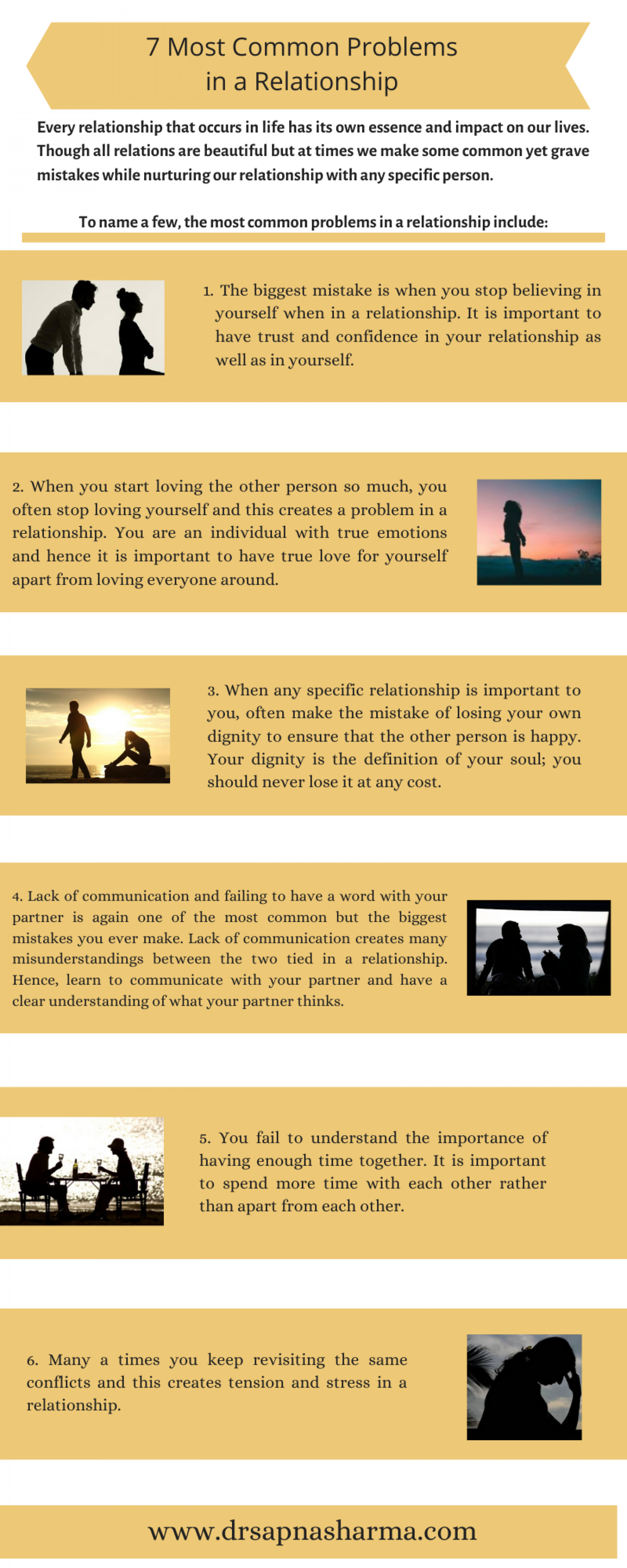 7 Most Common Problems in a Relationship Infographic