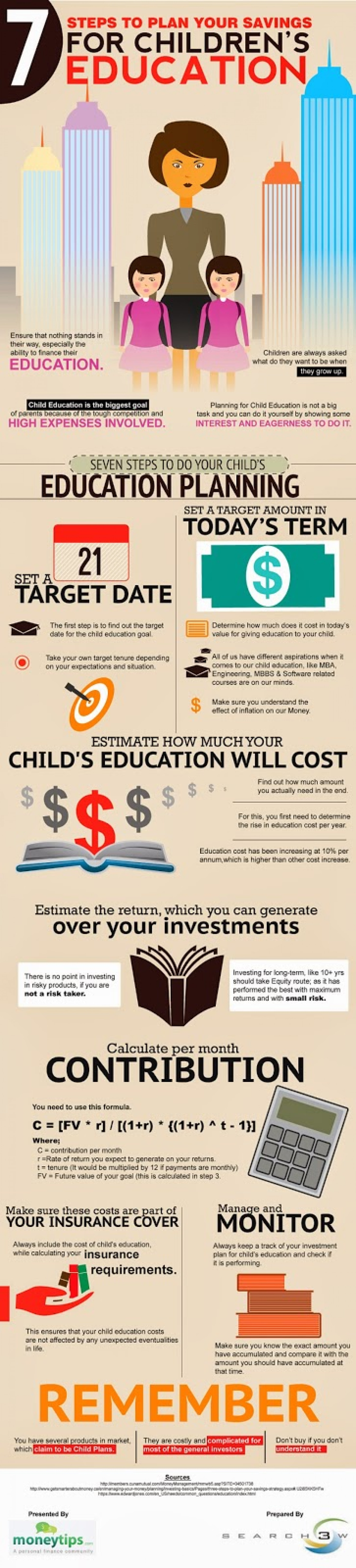7 Steps to Plan your Savings for Children's Education  Infographic