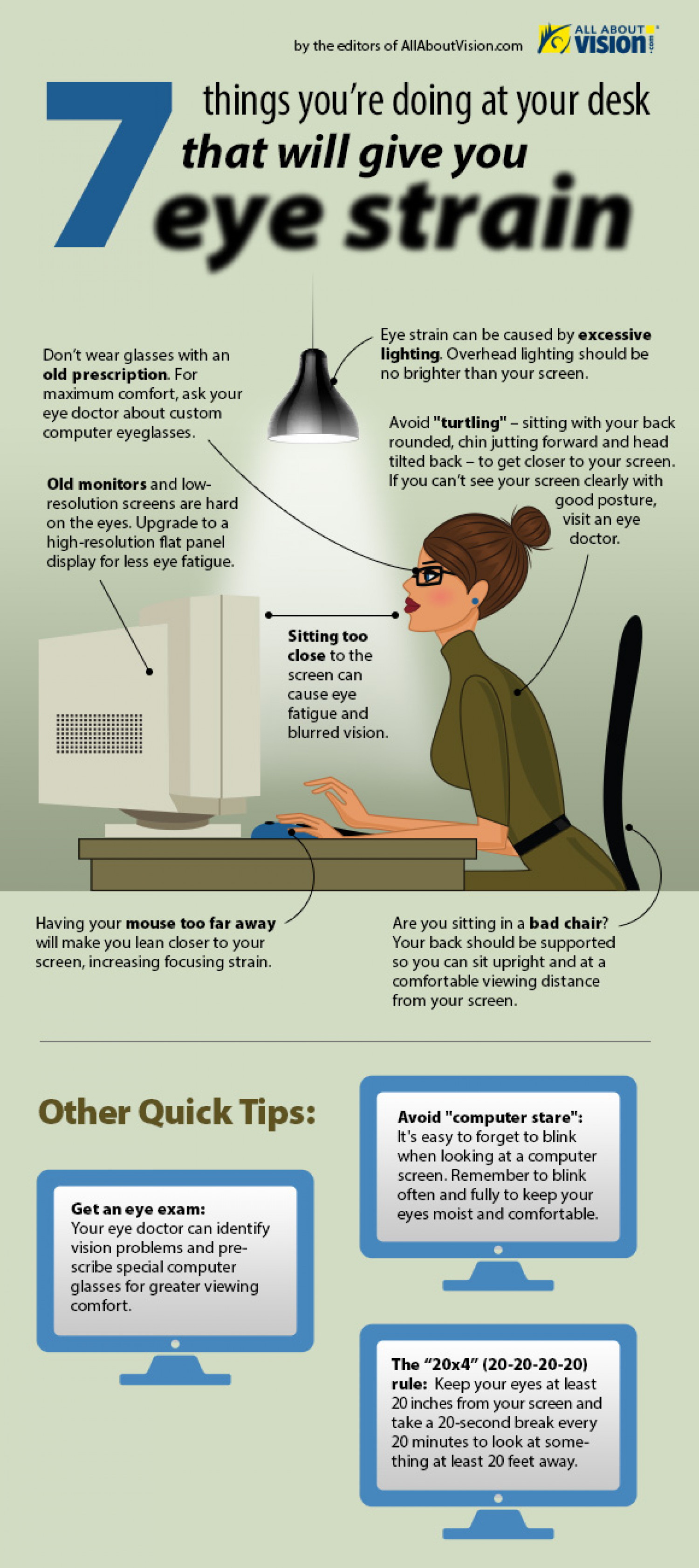 7 Things You're Doing at Your Desk That Give You Eye Strain Infographic