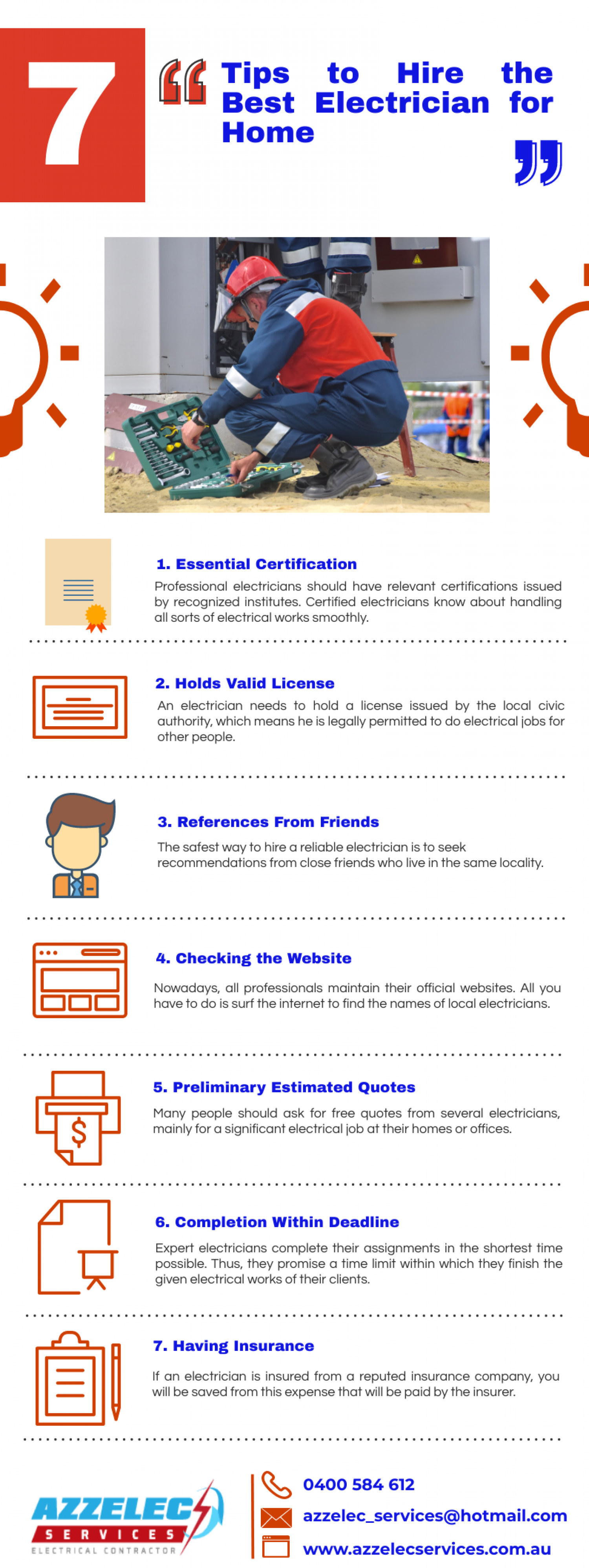 7 Tips to Hire the Best Electrician For Home Infographic