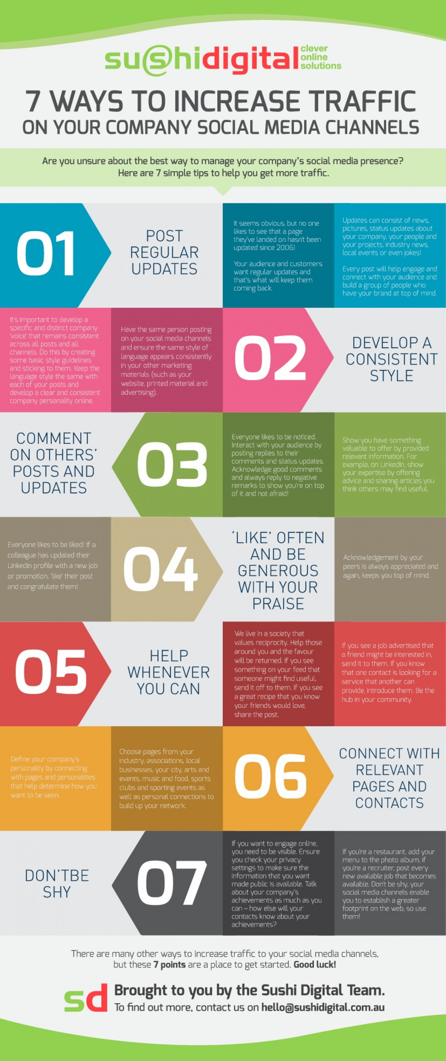 7 Ways to Increase Traffic on Your Company Social Media Channels Infographic