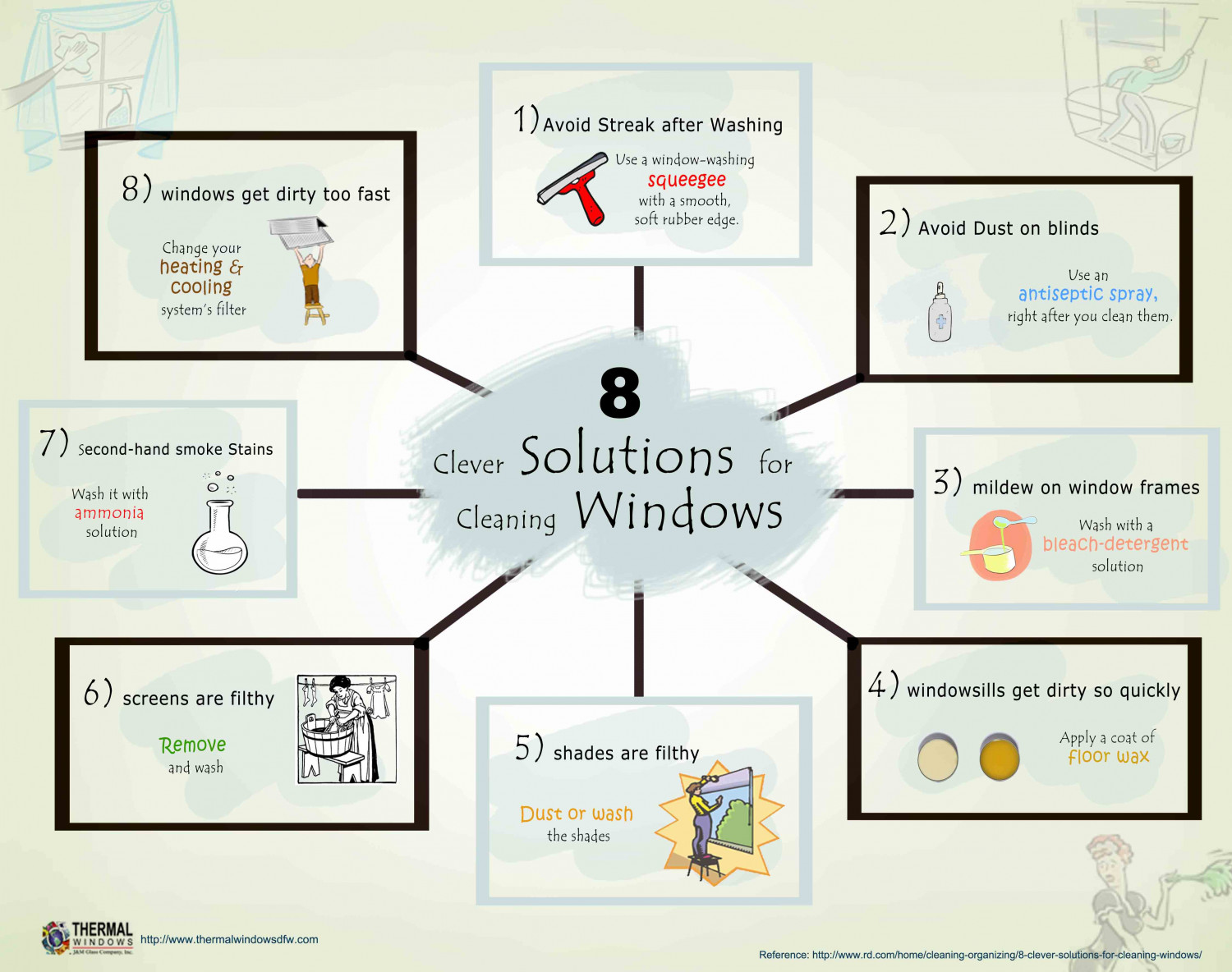 8 Clever Solutions For Cleaning Windows Infographic
