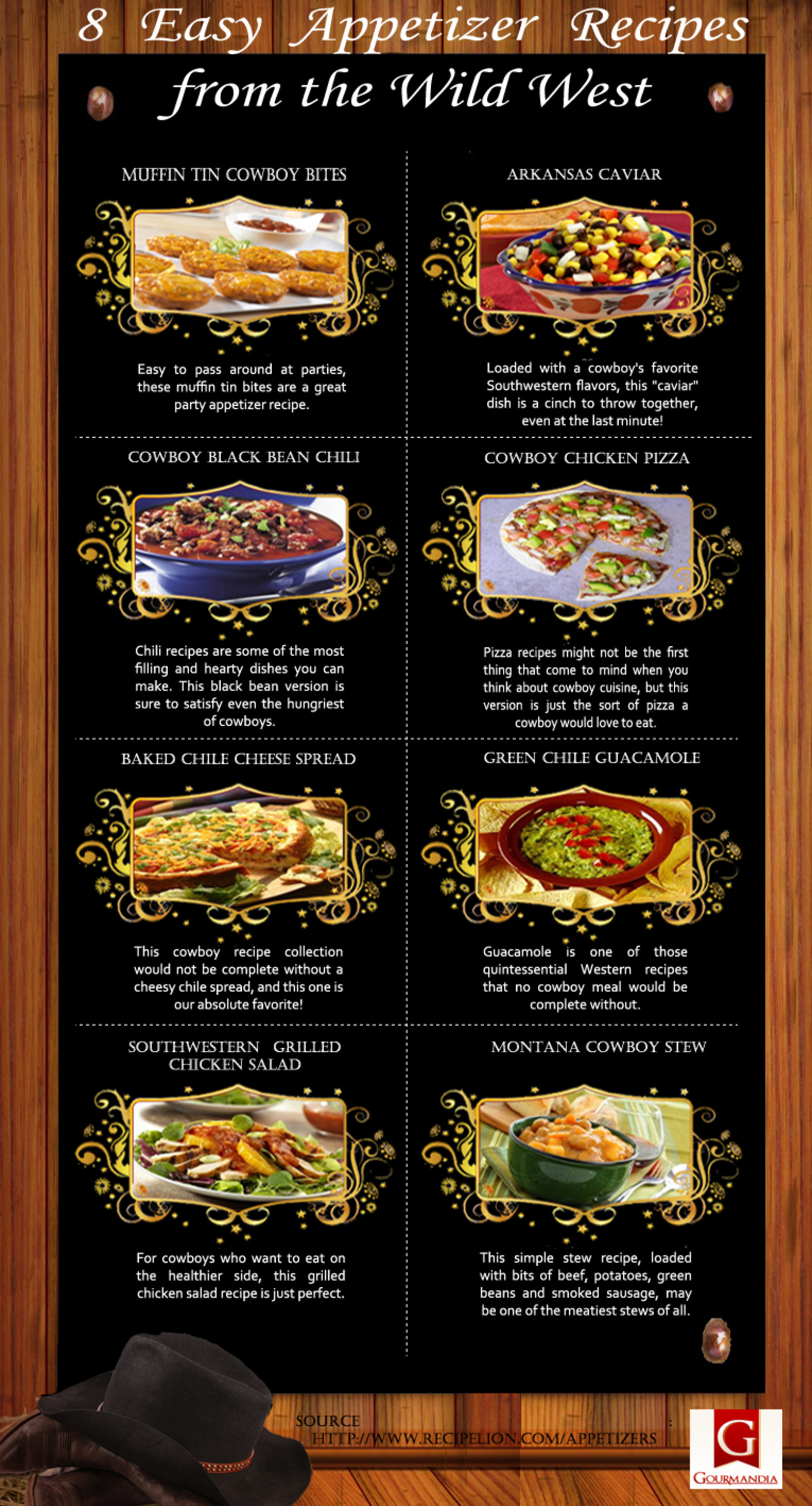 8 Easy Appetizer Recipes from the Wild West Infographic