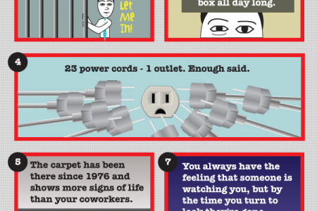 8 Humorous Drawbacks to Cubicle Working Infographic