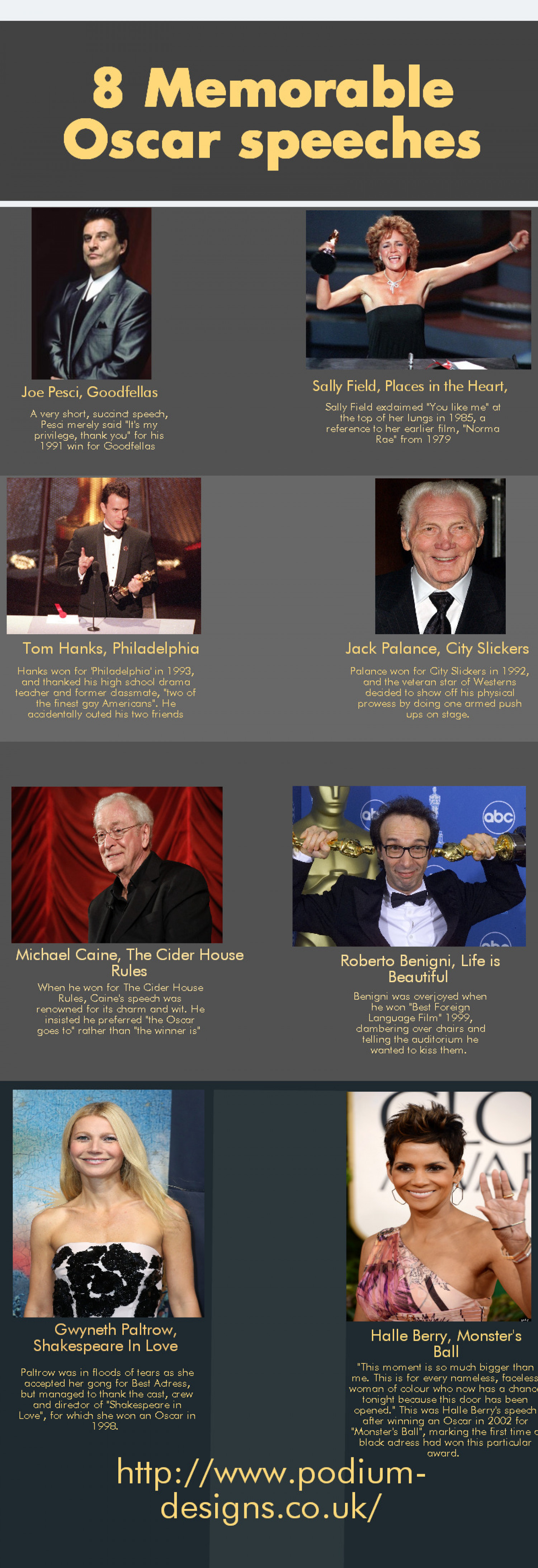 8 Memorable Oscar Speeches  Infographic