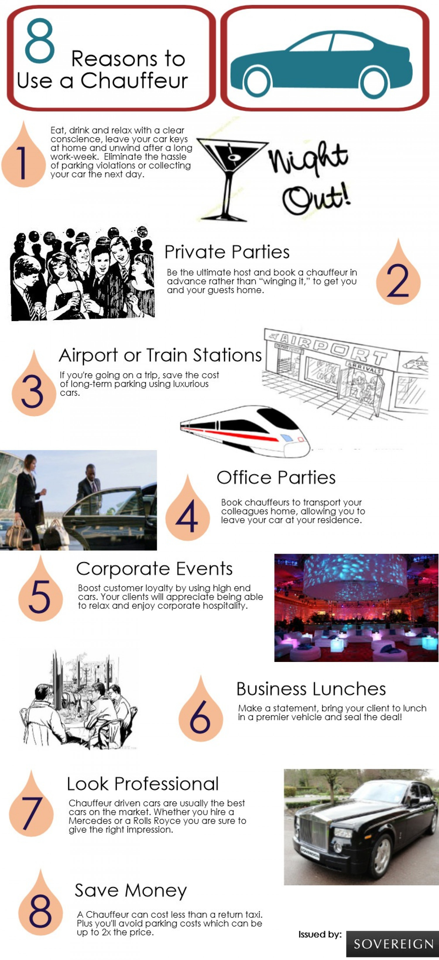 8 Reasons to Use a Chauffeur Infographic