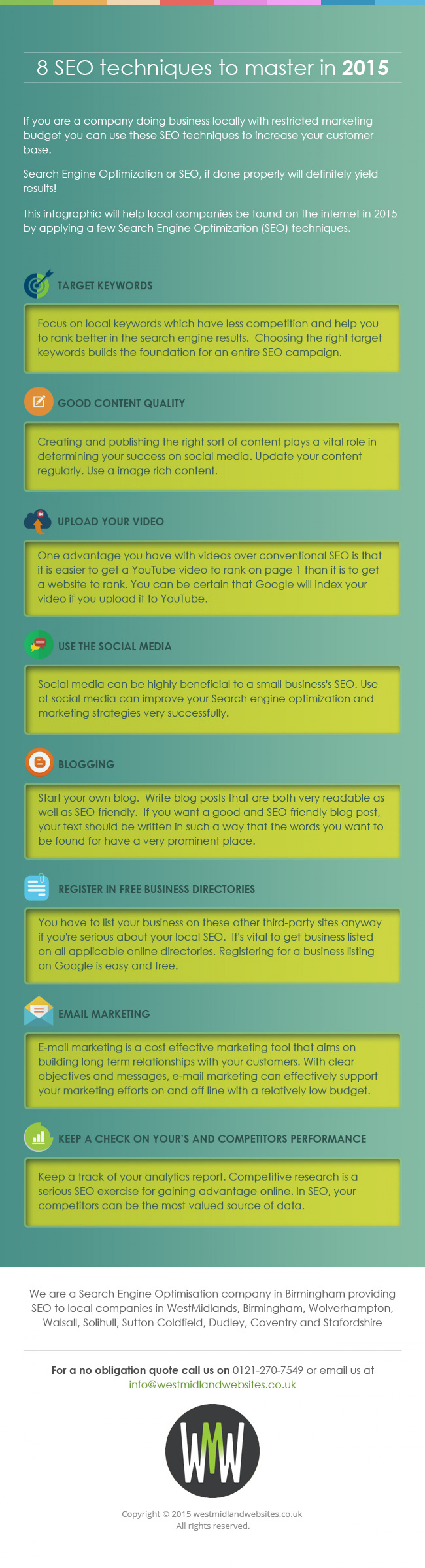"""""""8 SEO techniques to master in 2015"""" from SEO company in Birmingham Infographic"""
